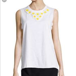 Red Valentino daisy embellished white cotton top M